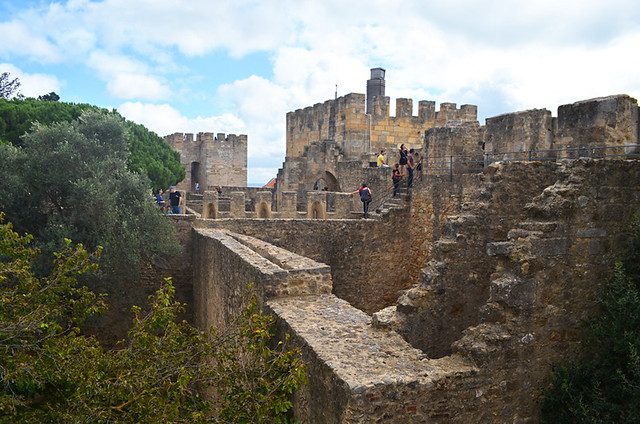 Walking the castle walls, Castello S Jorge, Lisbon, Portugal