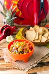 Grilled Pineapple Salsa with Quinoa-Corn Tortilla…