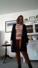 Me made may day 26 Laura pants, Renfrew top, Megan cardigan