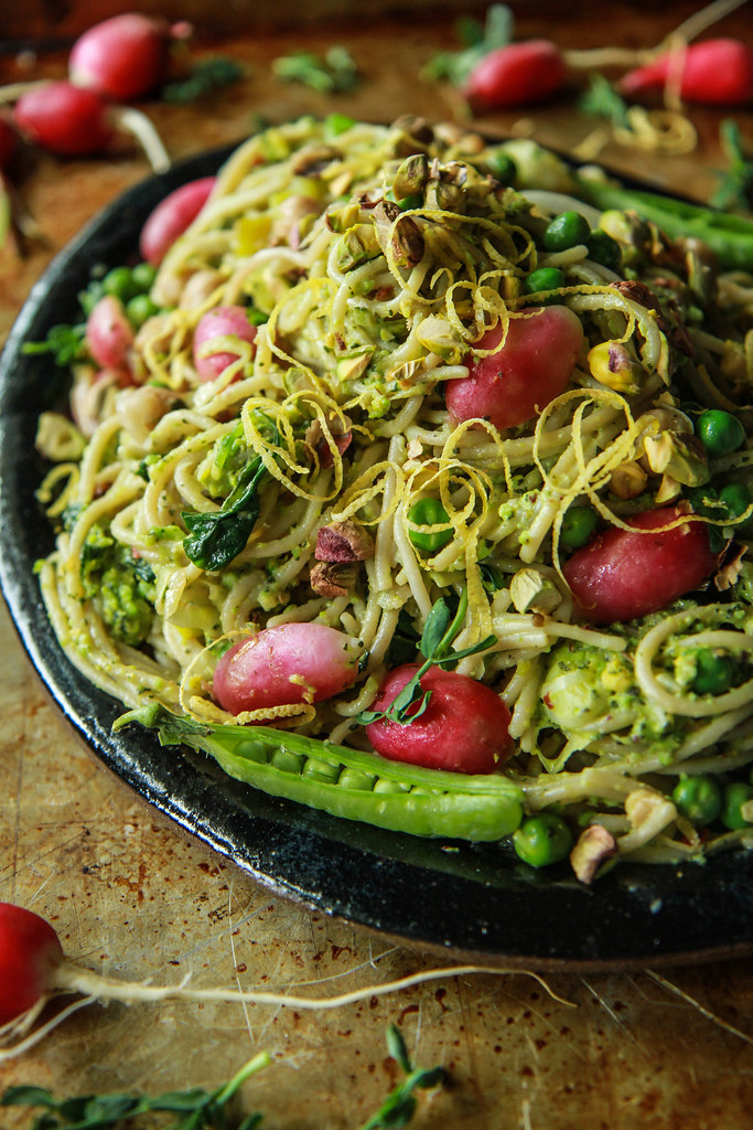 Spring Leek and Lemon Pasta with Mint Pistachio Pesto (plus a