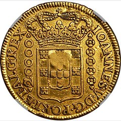 Lot 8 Ephraim Brasher regulated Brazilian 1726 Minas Gerais 20,000 reis reverse