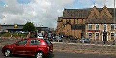 Manchester Road, Bradford. Wedding going on in church across the road