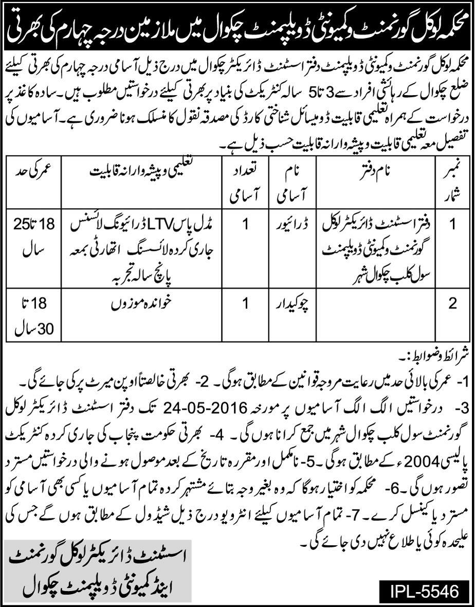Local Government Chakwal Lower Scale Jobs