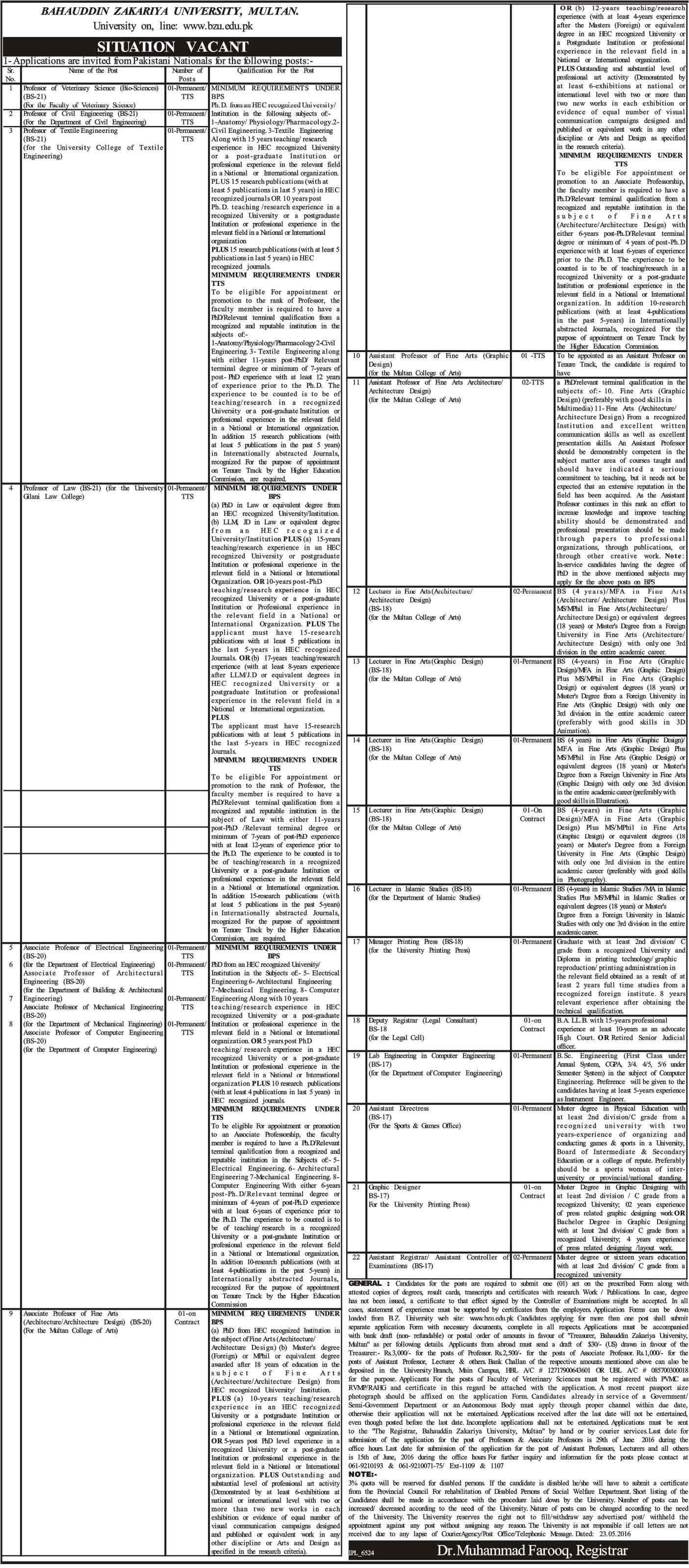 Bahuddin Zakariya University Multan Jobs 2016