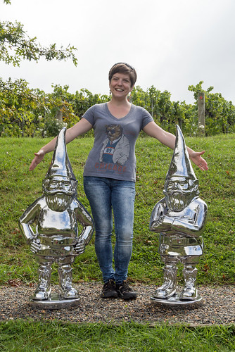 posing w/ 'Reflective Thinker - Gnomes 1 & 2' by Gregor Kregar