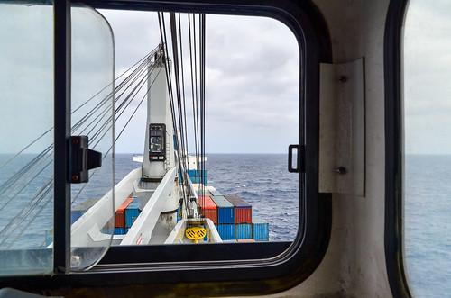 Cargo ship - inside a crane