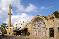 View of the Mahmoudia Mosque and water fountain (sabil) from a Jaffa street, Jaffa (Yafo), Tel Aviv-Yafo, Israel