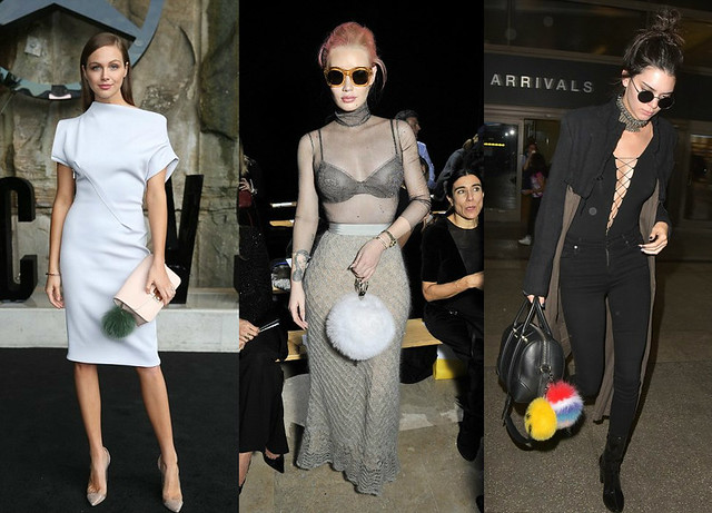black calf length patent boots, rounded sunglasses, choker, black and khaki hued duster jacket, a large Givenchy Lucrezia handbag with two multi-colored fur pom poms-T by Alexander Wang Lace Up bodysuit-grey sequined bra-pointed-heels-pinkish-clutch-bag-w