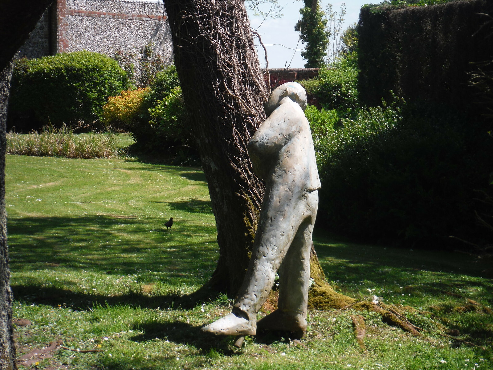 Sculpture in Garden of House, Up Marden SWC Walk Rowlands Castle Circular