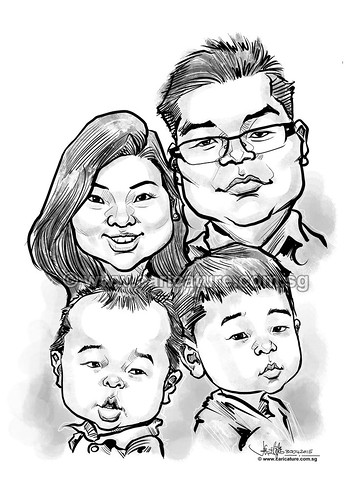 digital family caricatures in b-w (watermarked)