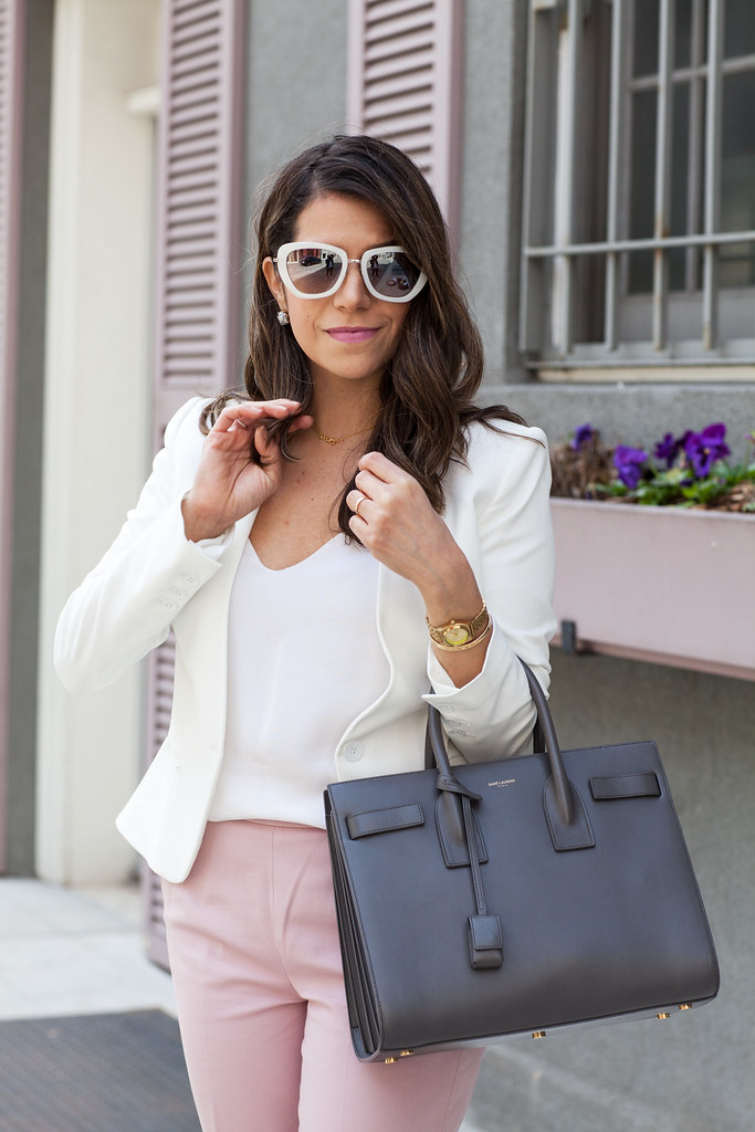 work outfit spring pink j crew j.crew pants white blazer silk cami zara lord and taylor brown hair corporate outfit saint laurent sac de jour what to wear to work dvf nordstrom looks spring looks sunglasses corporate catwalk work wear fun looks for work professional women