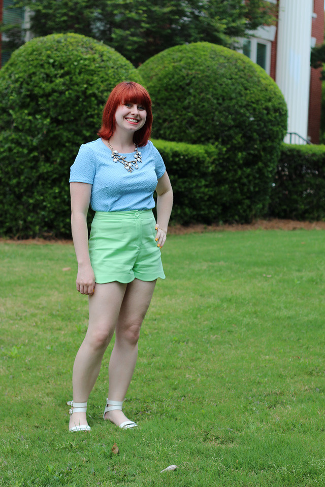 Pastel Green Scalloped Shorts, Blue Top, and White Sandals