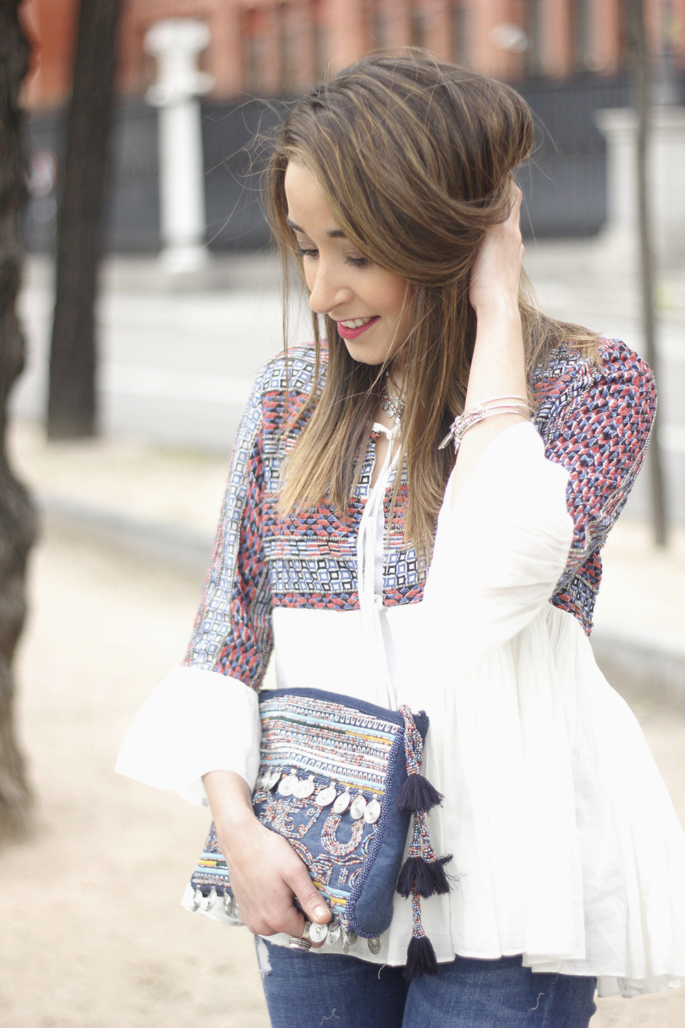 embroidered jacket jeans heels accesories spring style fashion outfit05