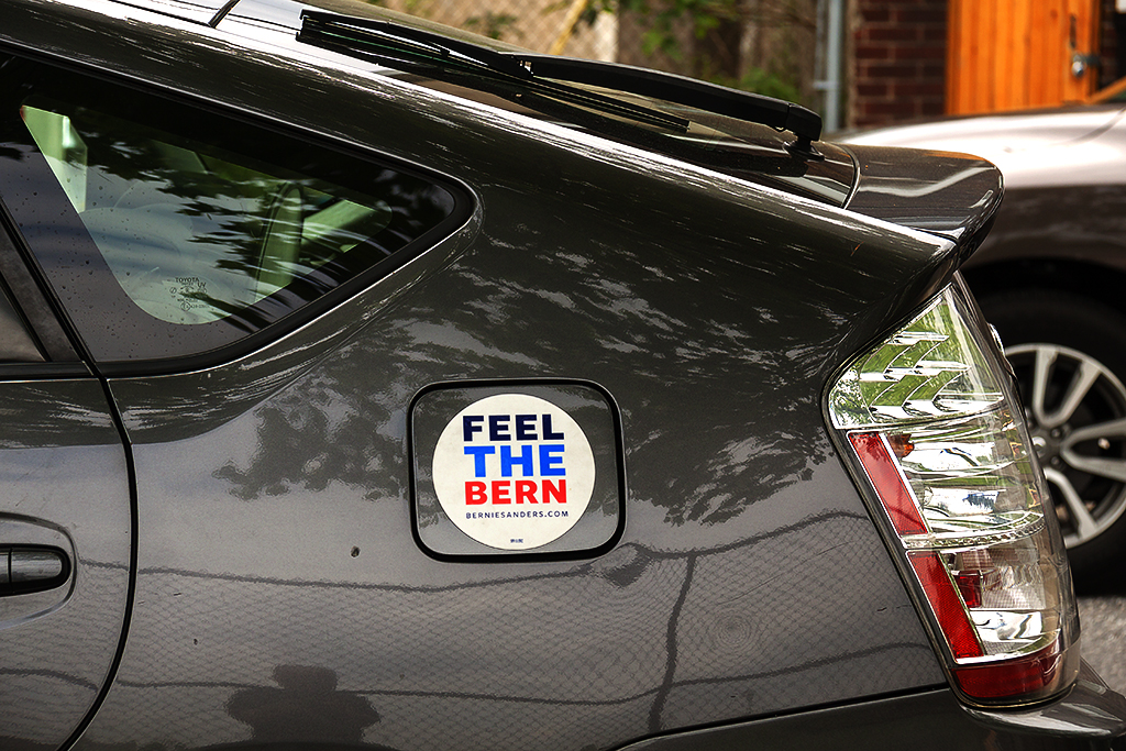 FEEL THE BERN sticker on gas tank cap--South Philly