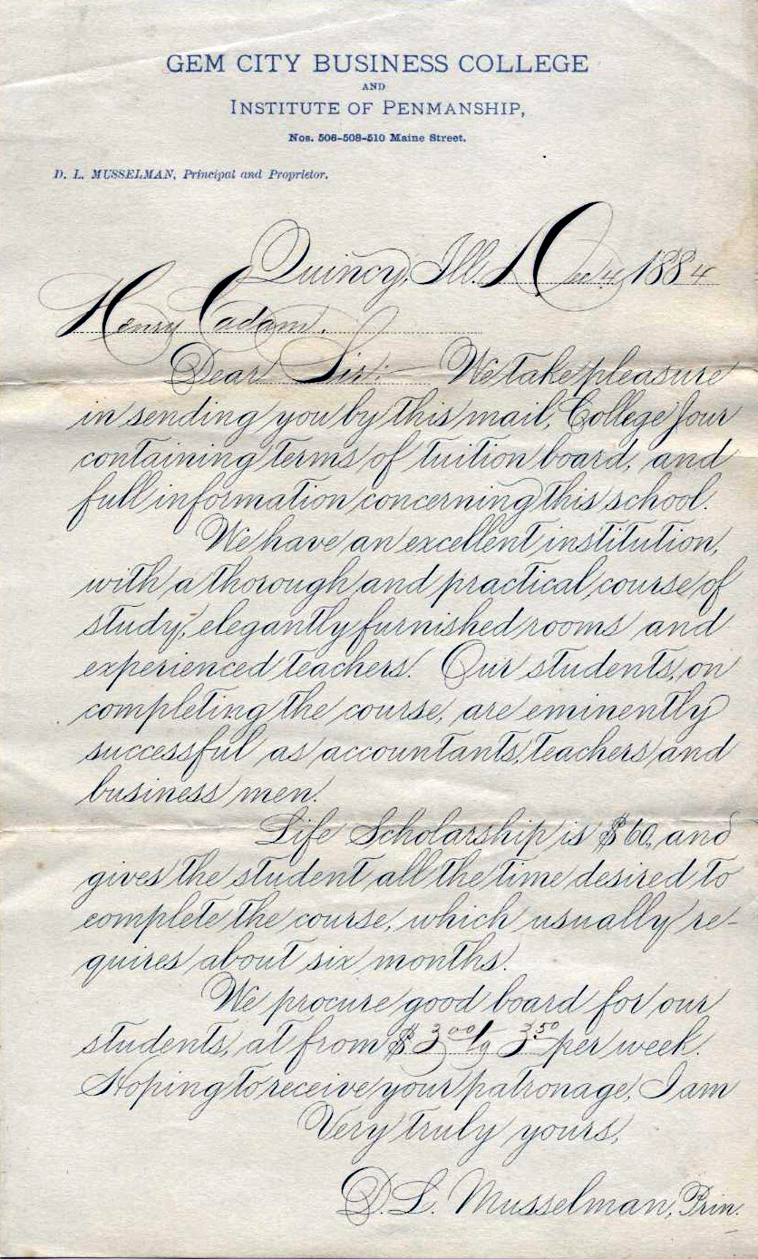 Classic American business cursive handwriting known as Spencerian script from 1884