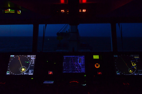 Vessel bridge and dashboard: night time