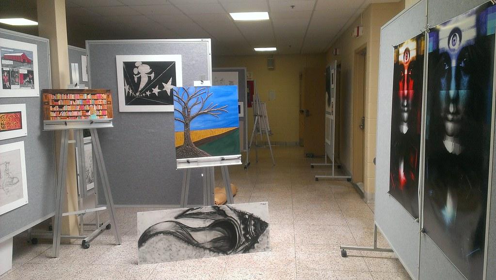 Asnuntuck Community College student art show setup