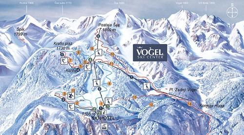 Vogel (Bohinj) - mapa sjezdovek