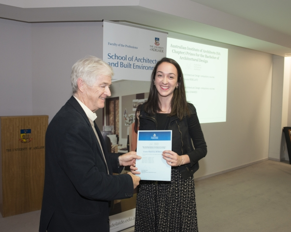 2014 Winner: Louisa Rebellato - Presented by Prof Steve Grieve on behalf of AIA (SA Chapter)
