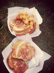 Hers and hers, bacon apple grilled cheese and load…