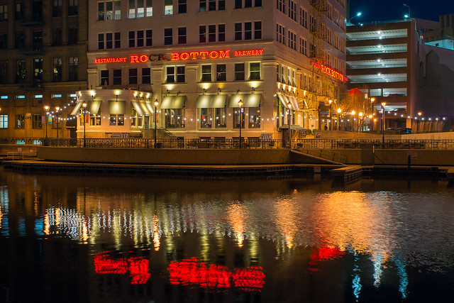 Rock Bottom Brewery, Milwaukee, WI, River, Riverwalk, Reflection, Night