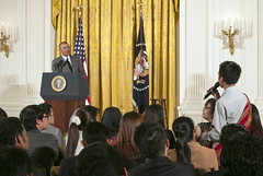 President Obama listens to a question from a participant in the Young Southeast Asian Leaders Initiative (YSEALI) at the White House in Washington, D.C., on June 1, 2015. [State Department photo/ Public Domain]