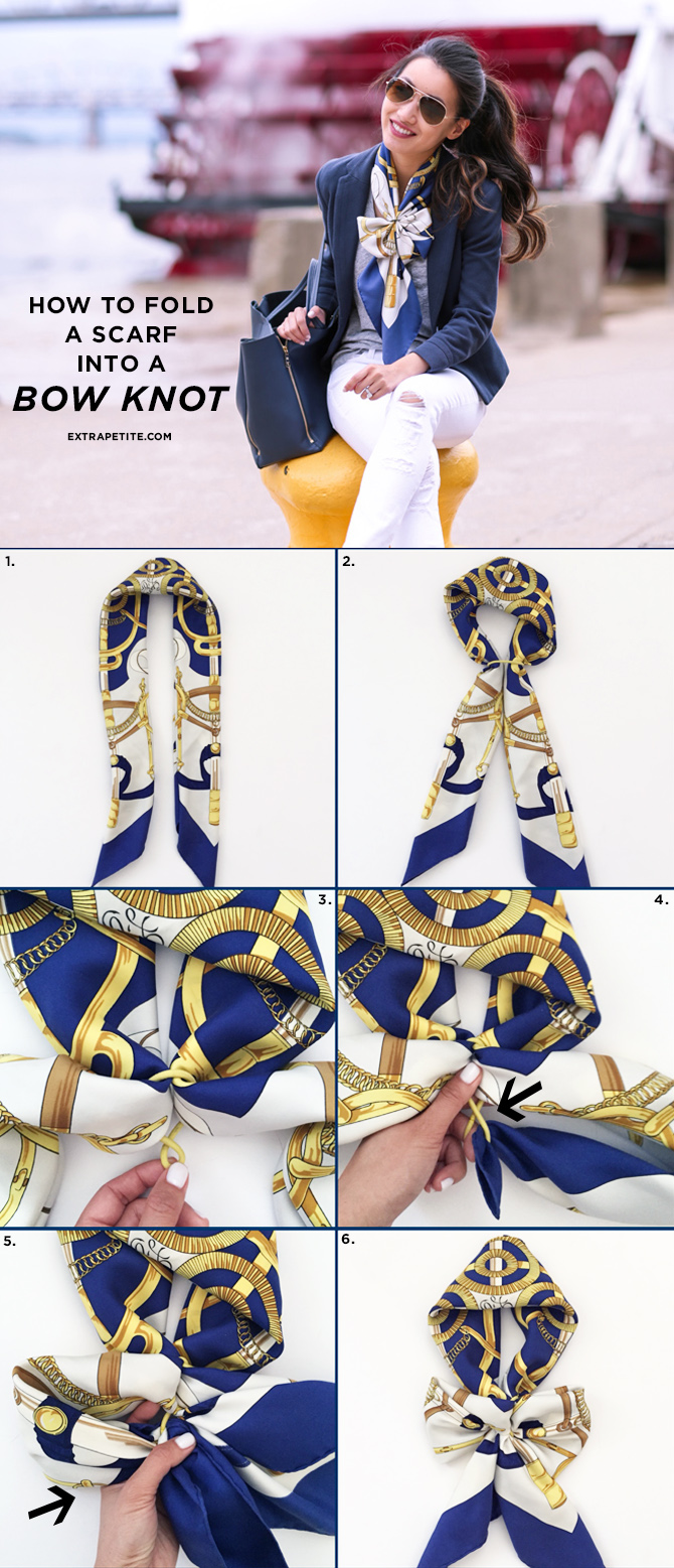 how to tie a hermes silk scarf_bow fold knot tutorial