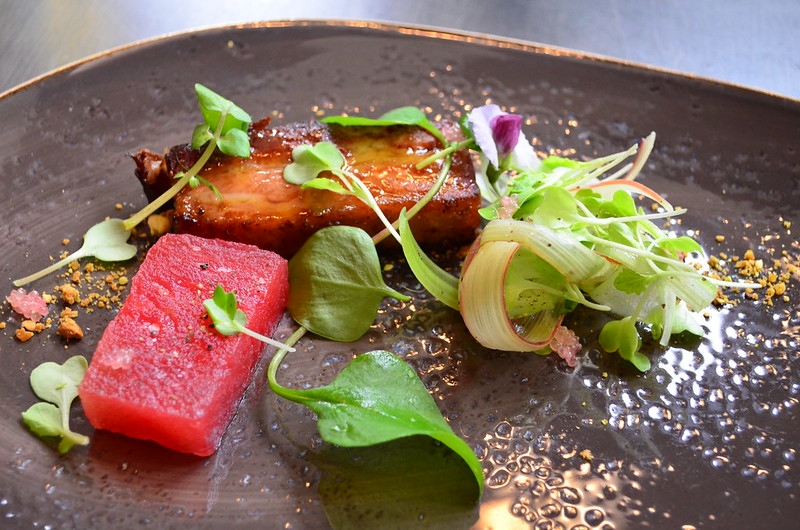 Pork Belly with Watermelon and Rhubarb