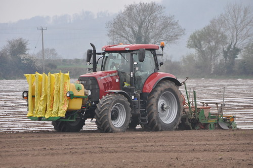 Case IH Puma 160CVX Tractor with a Samco 4 Row Maize Sowing System