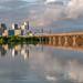Dallas Skyline Reflecting in the Flooded Trinity by kinchloe