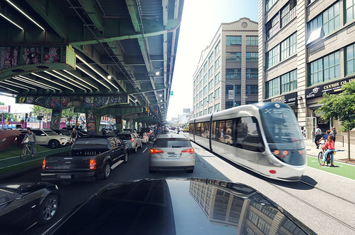 Rendering of the BQX streetcar in Brooklyn's Sunset Park area