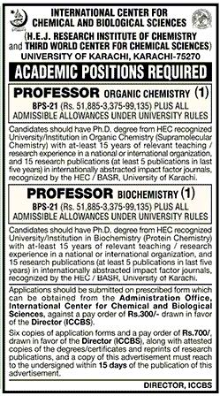 University of Karachi Faculty Required