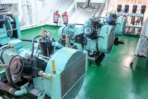 Cargo ship engine room - air compressors