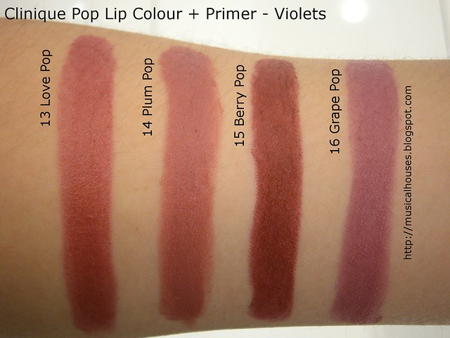 Clinique Pop Lip Colour Primer Swatches Violets