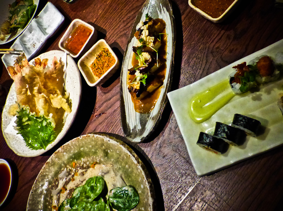 Selection-of-dishes,-Roka,-Mayfair