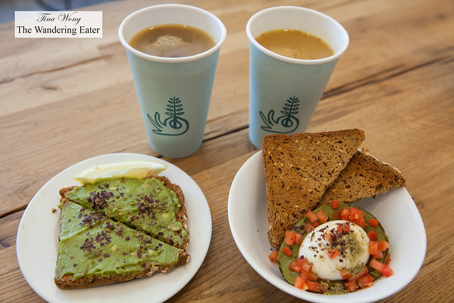Butterbroth, Liquid Gold broth, Avocado Baked Egg and Avocado toast topped with seaweed flakes on gluten-free toast