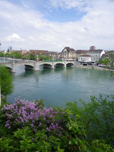 schweiz switzerland europe view suisse basel pont bale rhein ville lilas mittlere brucke mittlerebrücke milieu rhin bâle