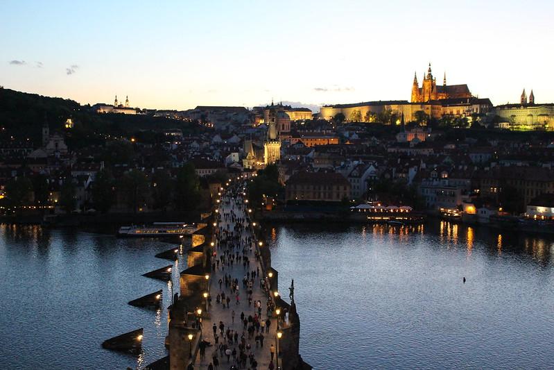 Charles Bridge overlooking Prague Castle.