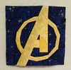 Avengers! Block #2 for hubby's superhero quilt.