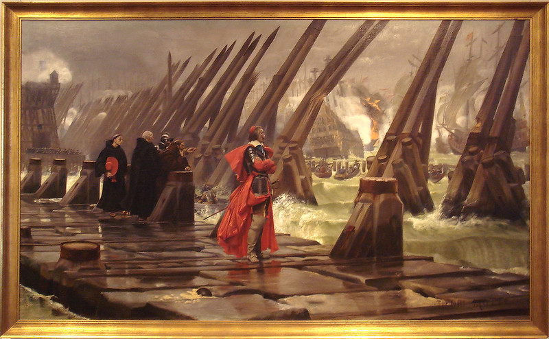 Henri Motte's depiction of Cardinal Richelieu at the Siege of La Rochelle
