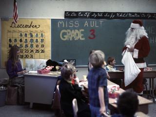 Santa Claus visits Miss Ault's class