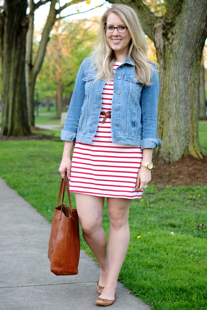 spring date outfit: striped dress with jean jacket