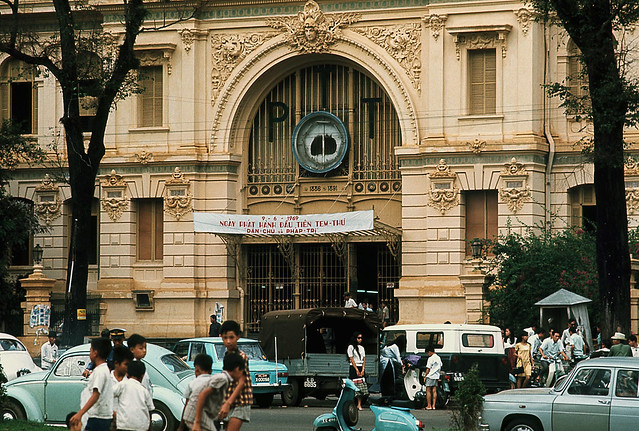 Saigon May 1969 - PTT Building at JFK Square - by Brian Wickham