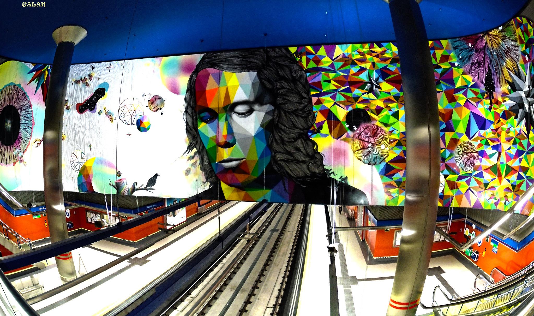 Mural de la estación de Paco de Lucia, linea 9 de Metro Madrid