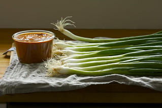 spring onions with romesco sauce