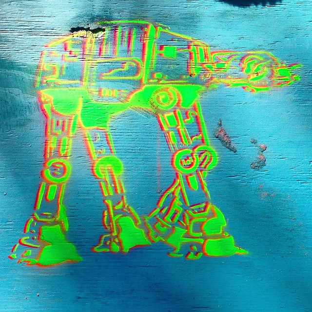 Fitting for today. Some spray paint stenciling from the weekend. (Not my stencil, just my sprayin') #atat #maythefourth #art #stencil
