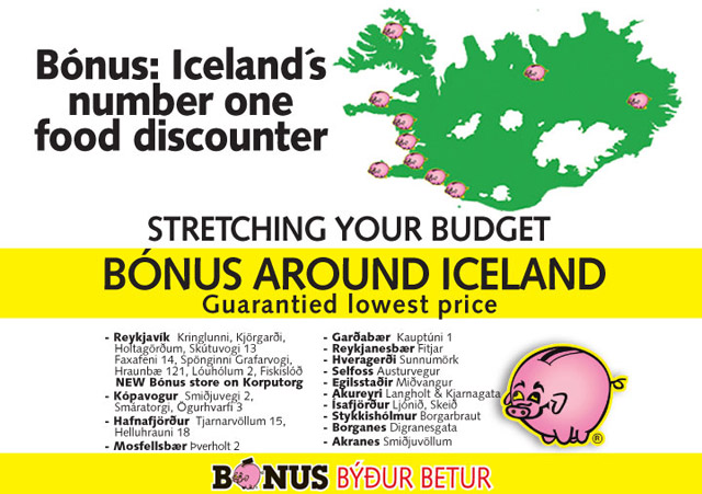 Mapa de supermercados Bonus en Islandia