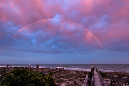 ocean sunset sea usa beach water clouds rainbow waves southcarolina atlanticocean beachhouse pawleysisland northlitchfieldbeach