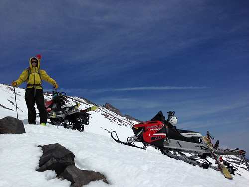 Nick Meyers and his cohort Jonathan Dove, a longtime seasonal climbing ranger on snowmobile patrol