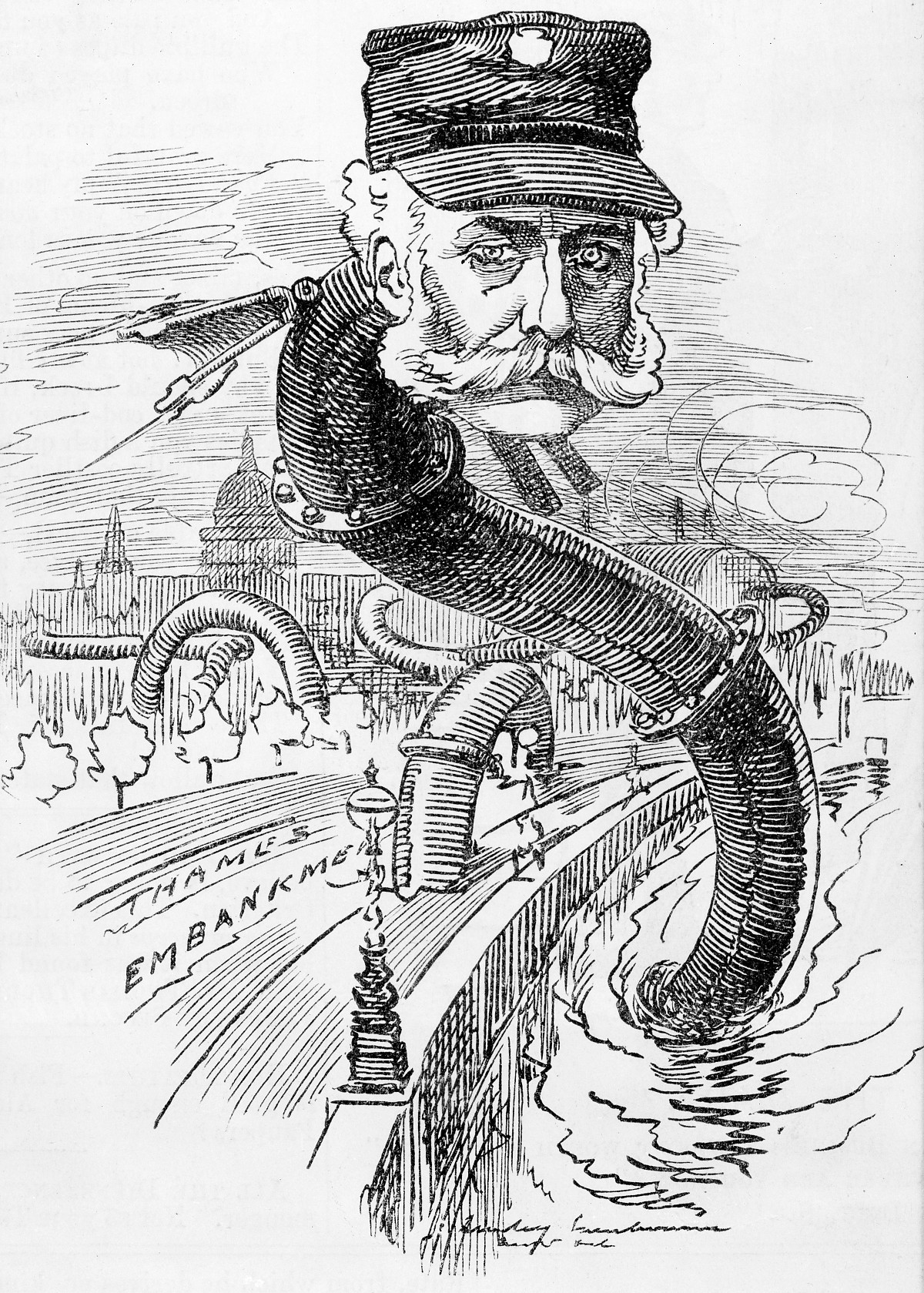 Bazalgette as the 'Sewer Snake', Punch, 1883